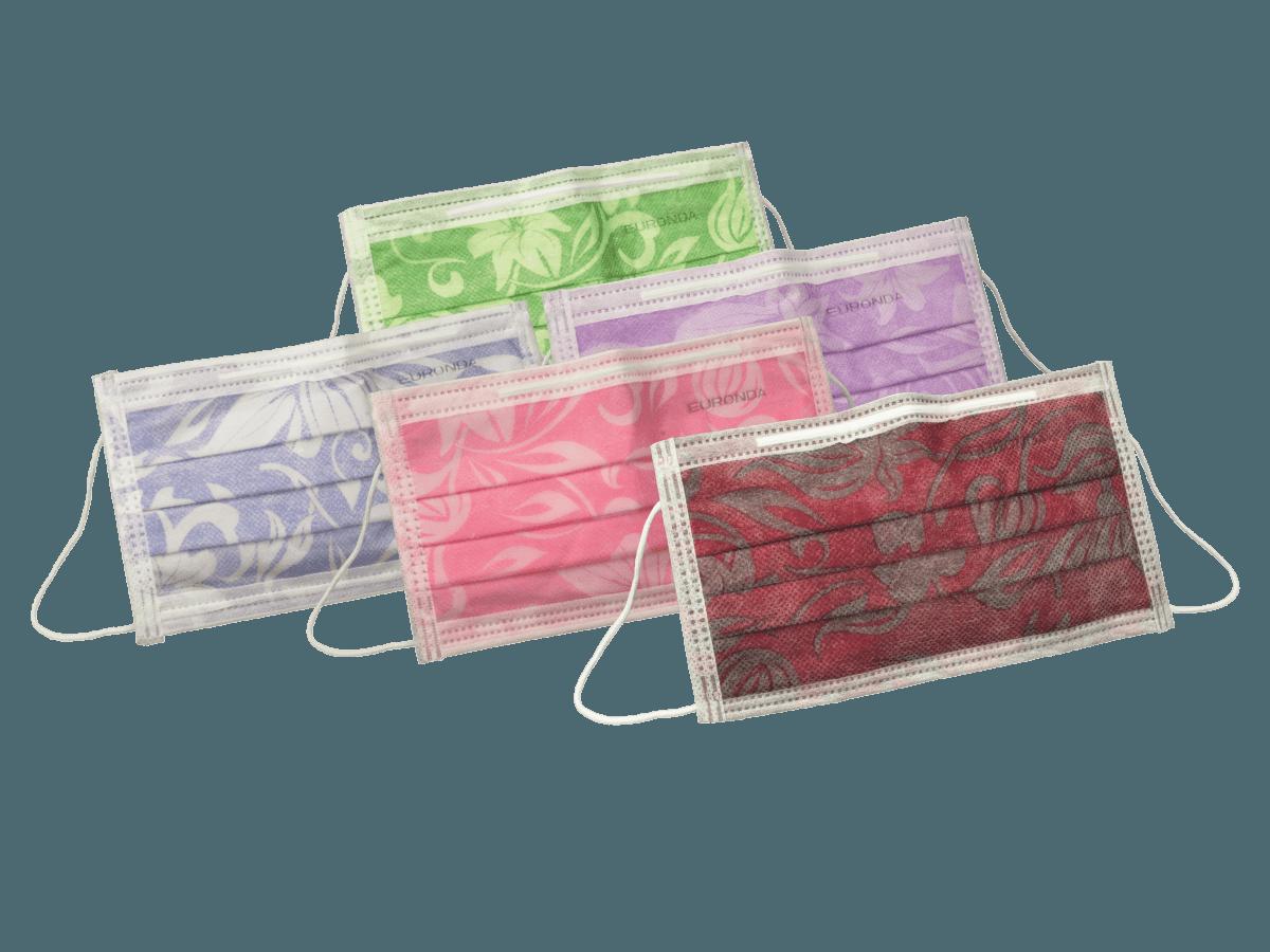 Mundschutz 3-lagig mit Flowerprint 5 Farben