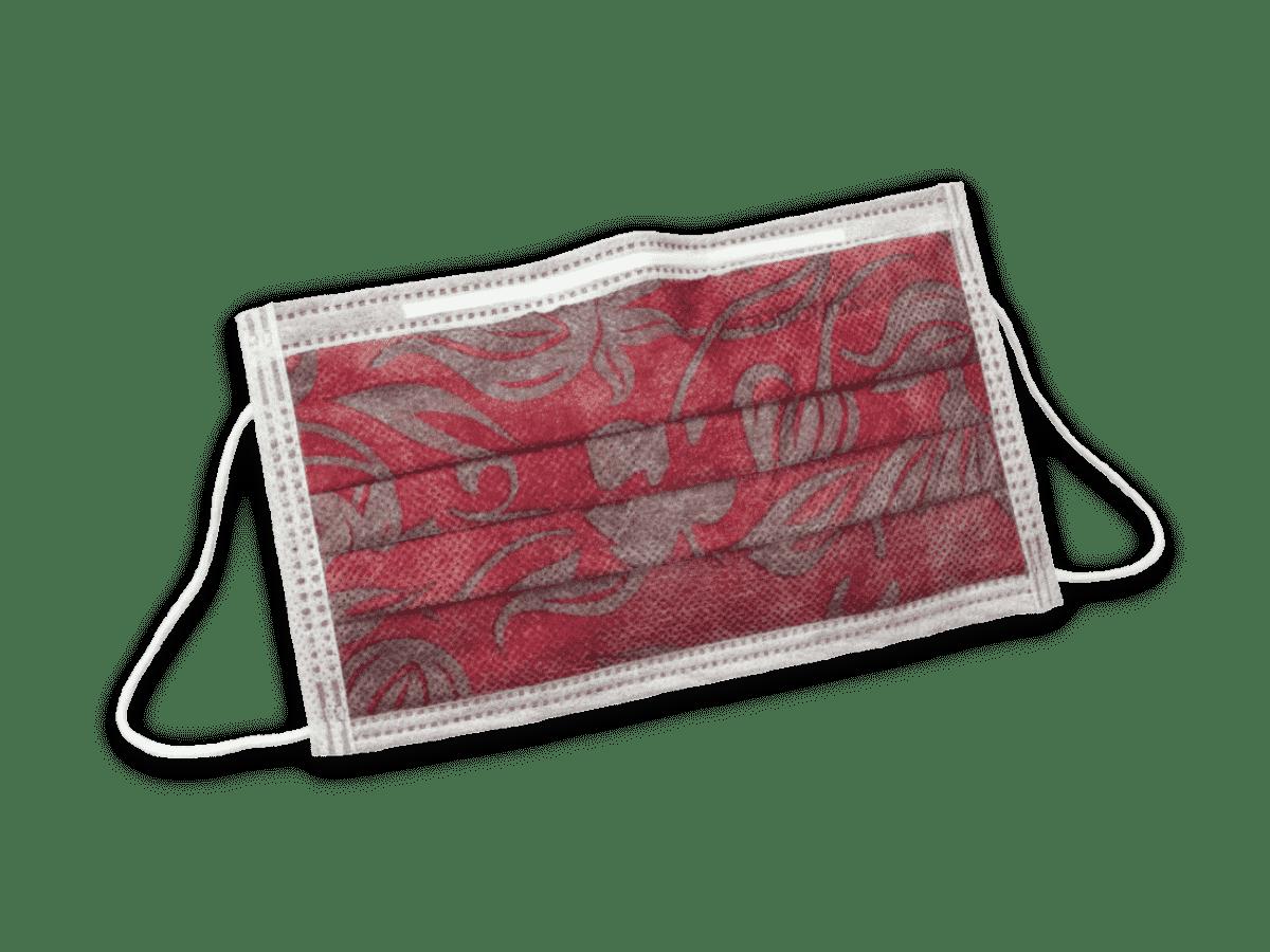 Euronda Mundschutz mit Motiv Blumenmuster weinrot