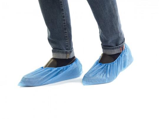 Kunststoff-Überschuhe mit Gummizug wasserfest hellblau