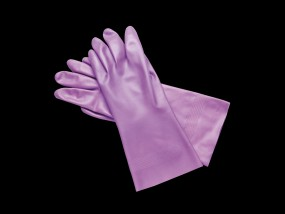 Nitril Schutzhandschuhe mit langer Stulpe, lila